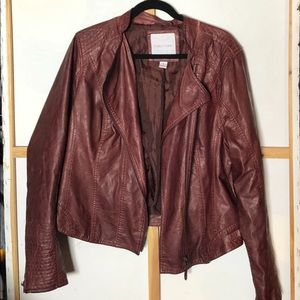 Deep Red Faux Leather Jacket